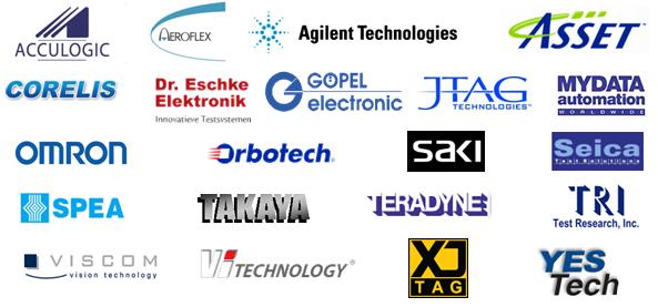 Acculogic: ScanNavigator, Scorpion, Sprint; Aeroflex: 42xx; Agilent Technologies: i3070, 5DX, SJ10, SJ50; Asset; Corelis; Dr. Eschke: CR350; Flynn Systems: onTAP; Goepel: CASCON, OPTICON; JTAG Technologies; MIRTEC: MV Series; MYDATA; OMRON; Orbotech: S22, TRION, VT9300; SAKI; SEICA: VIVA; SPEA: 3030, 4040; Takaya: APT8xxx, APT9xxx; Teradyne: Z1800, Spectrum, GR228x, TS124, TS128; TRI: TR7500, TR8001; VISCOM; VI-Technology: Vi Series; XJTAG et YESTech.
